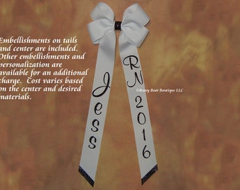 """Many Colors!  Extra Large 5""""x15"""" Grosgrain Hair Bow w/ Long Tails - Personalized or Plain - Graduation Cap Bow - Embellished RoseyBow®"""