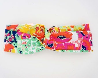 Bright Floral Pattern Turban Headband