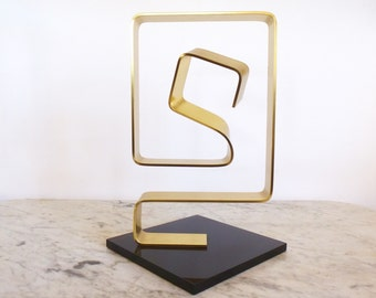 Vintage Dan Murphy Abstract Metal and Lucite Sculpture 1976