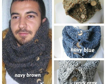 Navy Blue brown green Men Scarf Knit cowl button-Man fashion-Cape-neck warmer-Winter accessories gift her him-scarves using variegated yarn