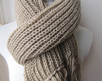 Men's knitted scarves-Camel tan beige ivory degrade Rib knit long scarf -cowl-Turkish scarf, valentines day gift for man winter fashion