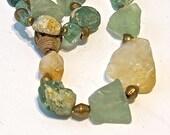 Ancient Roman Glass -Bohemian Single Strand Necklace -Citron Quartz - Lost Wax Metal Beads -Boho Necklace -The Joy Moos Collection