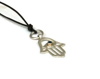 Silver Hamsa Pendant Necklace, Hamsa Hand Choker, Hand of Fatima Necklace, Evil Eye Pendant   ARTISAN HANDMADE by Sheri Beryl