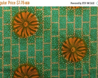 20% SALE Tribal African Fabric Ethnic Fabric from Ivory Coast West African Fabric Orange and Green Sturdy Cotton Fabric - 1 1/8 - TAF1410