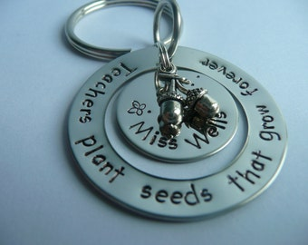 Hand stamped teacher thank you keyring, teachers plant seeds that grow forever, personalise