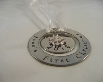 Custom hand stamped metal ornament, baby's first christmas, personalise, stacked discs ornament, silver