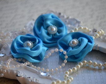 """Set of 3 Turquoise Satin Flowers 1.5"""", small fabric flowers, satin ribbon flower, headband, hair accessories, flower accessories"""