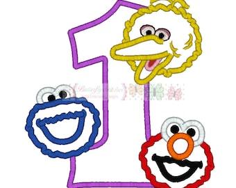 Cookie Elmo Bird Birthday Number One Digital Embroidery Applique Design