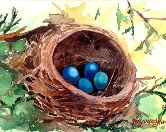 ACEO Limited Edition 4/25 - Nest, Robins, Bird art print of an Original ACEO Watercolor, Gift idea for bird lovers
