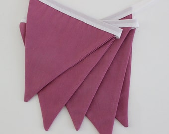 the belle - mauve fabric banner bunting