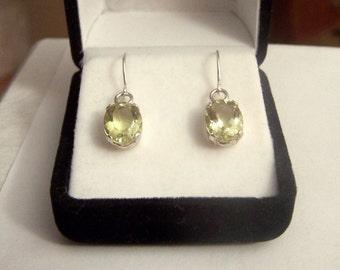 Yellow Quartz Gemstone Earrings Sterling Altered Vintage Dangle Drop Genuine Artisan Earwires