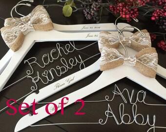 Set of 2 Personalized Hanger, Custom Bridal Hangers,Bridesmaids gift, Wedding hangers with names,Custom made hangers
