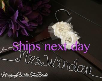 ships next business day, Wedding hanger, custom wire hanger, bridal hanger, bride gift, bridesmaids gift, custom made hanger