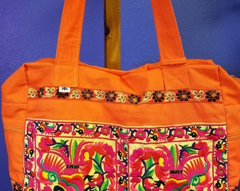 """Orange """"HAND"""" Embroidered Thailand  Hmong Hill Tribe Traveler/Overnight Bag"""