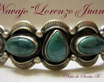 "Navajo~""LORENZO JUAN""~Vintage Revival~FOX Turquoise~Heavy Applique Work~925 Cuff"