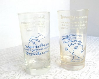 Vintage Clear Glass Juice Glasses / Commemorative Glassware Duraglas Containers Charlotte Michigan