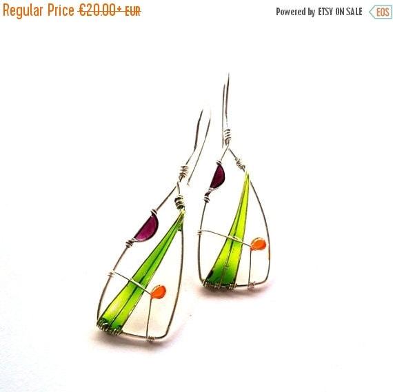 AUGUST SALE 20% Green triangle earrings, wire wrapped earrings, geometric earrings, free shipping, resin earrings, silver plated