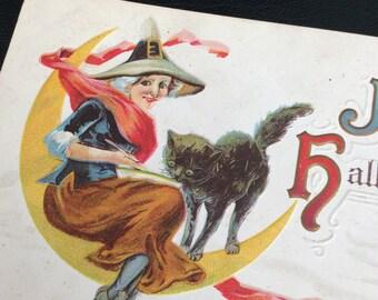 Halloween Vintage Postcard Embossed Ephemera Collectible 1921