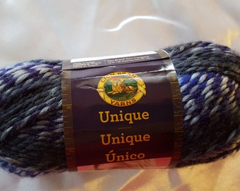 Lion Brand UNIQUE Yarn OVERSTOCK - 109 Yards Moon Shadows Blue Grey