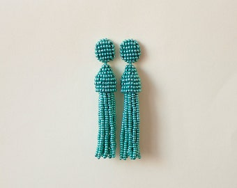 Beaded Tassel Clip-On Earrings Green Metal (made to order)