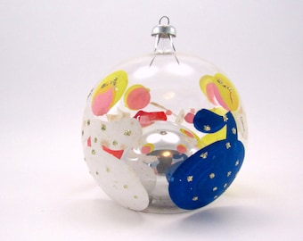 Vintage Glass Christmas Ornament  Handpainted Angels Italian Reflecting Bauble