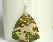 SALE Large pendant with mosaic green jasper gemstone, sterling silver, green sediment jasper, delicate leaf bail