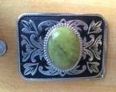 Green Stone Belt Buckle
