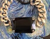 XL Black Mirror Swarovski crystal rodhium silver filled chain bracelet