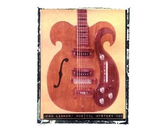 john lennon magical mystery beatles guitar art print / music gift / rock n roll art / music room decor / guitar gift / man cave art