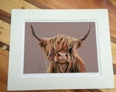 Limited Edition Fine Art Giclee Print 'Mabel' The Scottish Highland Cow by Sarah K. Speight A3 Mounted