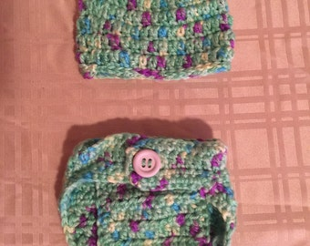 Preemie hat and diaper cover set.