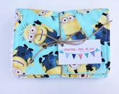 Minions Burp Cloth Set for Baby Girl or Boy, Minion Movie Theme, Free Shipping Burpees Newborn Shower Despicable Me Yellow AquaFabric