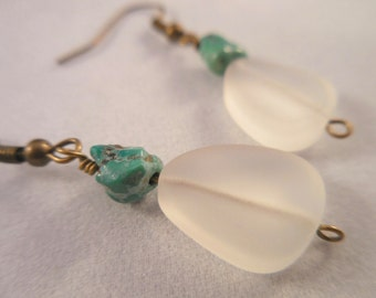 Translucent White Sea Glass Turquoise Antiqued Brass Earrings