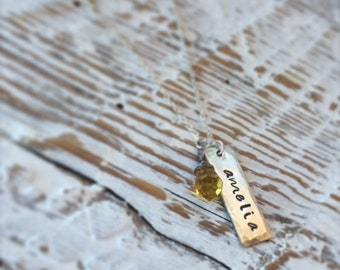 Name tag necklace with birthstone