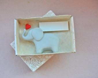 Lucky Elephant in a Matchbox - baby animal love heart good luck celebration gift greeting card Handmade Pocket Figure