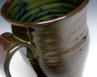 Ceramic Cup - Handmade Pottery - Green Stoneware - 16oz Pint