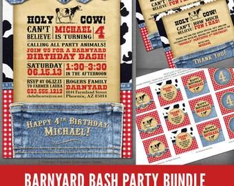 Western Cowboy or Cowgirl Barnyard Denim and Gingham Printable Bundle