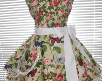 1950 Inspired Retro Apron Flower Garden Green Print with Circular Flirty Skirt