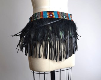 SUMMER SALE Burning Man Clothing - Festival Clothing - Native American Inspired - Feather Top - Feather Pixie Skirt