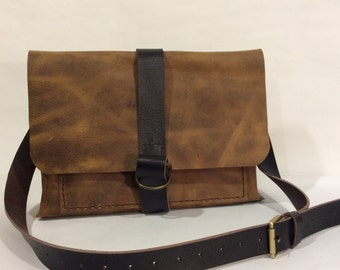 Leather  Messenger Bag with Laptop Sleeve, Leather bag Great Gift for Your Men ,Made in NYC BY Nadirabag