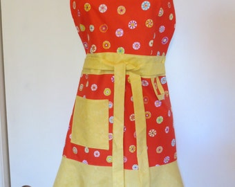 Orange/Yellow Print Full Apron