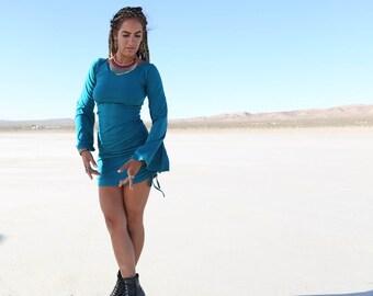 TURQUOISE Playful Priestess Dress, Festival Dress, Festival Clothing, Hippie Dress, Burning Man, Gypsy, Boho, Boho Dress, Bell Sleeves