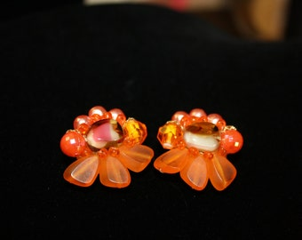 Mixed Media Orange Vintage Clip Earrings