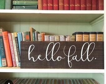 hello fall. Custom Vinyl Front Door Decal.