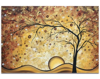 Landscape Painting 'Golden Rhapsody' by Megan Duncanson - Abstract Tree Art Neutral Tones Decor on Metal or Acrylic