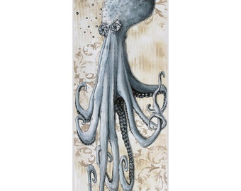 Modern Beach Decor 'Depths of the Sea v2' by Megan Duncanson - Coastal Bathroom Art Octopus Painting on Metal or Acrylic