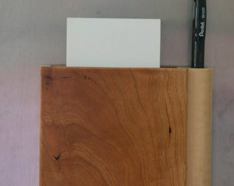 Magnetic Wooden Grocery List Holder Handmade out of Cherry and Figured Maple - Free Shpping to USA