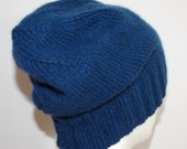8 Ply Cashmere Blue Hand Knit Thick Slouchy Beanie Hat for Men or Women