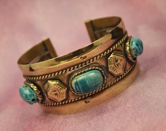 "Vintage Brass Cuff Bracelet - Egyptian Scarab Beetle Bracelet - Middle Eastern - 5 Band Bracelet - Medium Adjustable Cuff -  1  1/4"" wide"