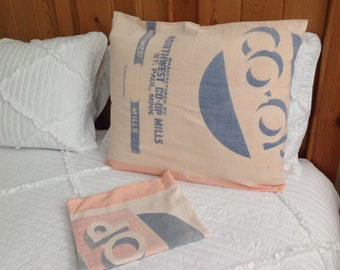 Sale! Vintage sack co-op feedsack pillow shams, farmhouse pillow shams, shabby chic pillow shams